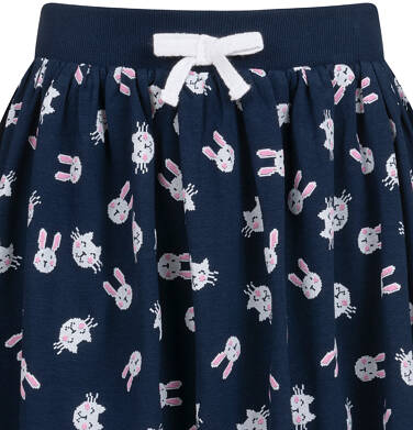 Endo - Spódnica dla dziewczynki, w króliki, granatowa, 2-8 lat D04J002_3,2