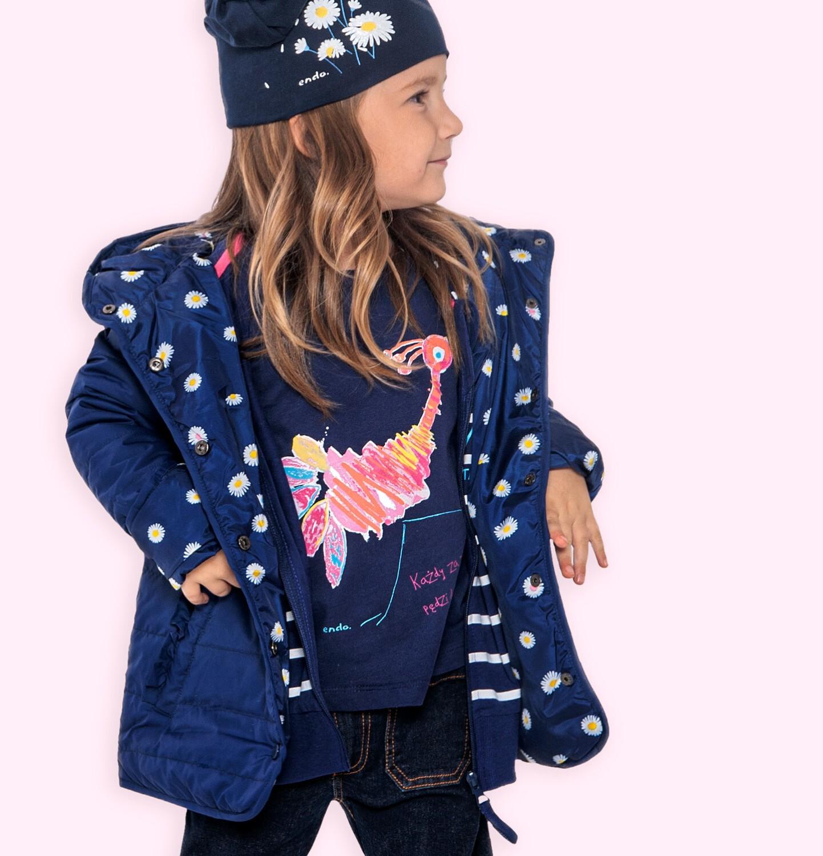 Endo - Przejściowa kurtka z kapturem dla dziewczynki, granatowa z elementami odblaskowymi, 2-8 lat D05A005_1
