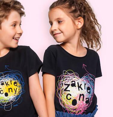 Endo - T-shirt z krótkim rękawem dla dziewczynki, z napisem zakręcona, czarny, 2-8 lat D06G141_1 21