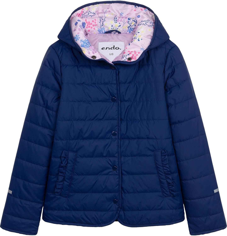 Endo - Przejściowa kurtka z kapturem dla dziewczynki, granatowa z elementami odblaskowymi, 9-13 lat D05A010_1