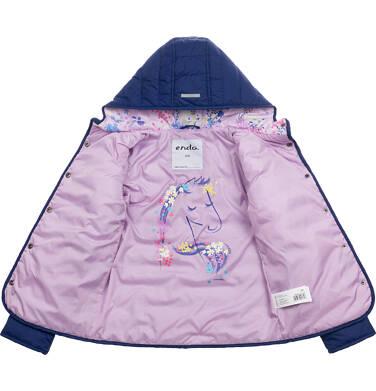 Endo - Przejściowa kurtka z kapturem dla dziewczynki, granatowa z elementami odblaskowymi, 9-13 lat D05A010_1 5