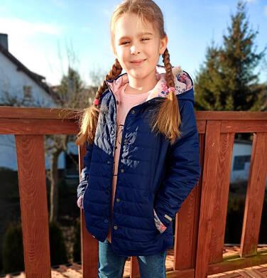 Endo - Przejściowa kurtka z kapturem dla dziewczynki, granatowa z elementami odblaskowymi, 9-13 lat D05A010_1,5