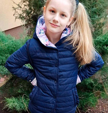 Endo - Przejściowa kurtka z kapturem dla dziewczynki, granatowa z elementami odblaskowymi, 9-13 lat D05A010_1,4