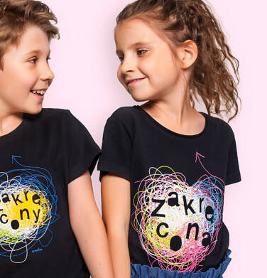 Endo - T-shirt z krótkim rękawem dla dziewczynki, z napisem zakręcona, czarny, 9-13 lat D06G142_1 14
