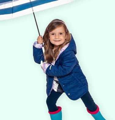 Endo - Przejściowa kurtka z kapturem dla dziewczynki, granatowa z elementami odblaskowymi, 2-8 lat D05A012_1 8