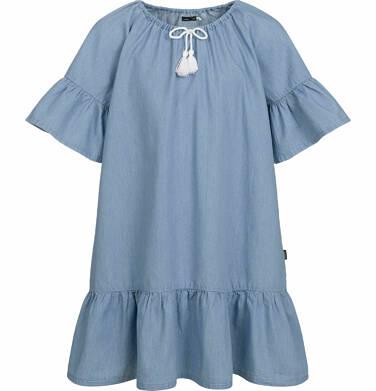 Endo - Jeansowa sukienka z krótkim rękawem, z falbanką u dołu, 9-13 lat D03H536_1
