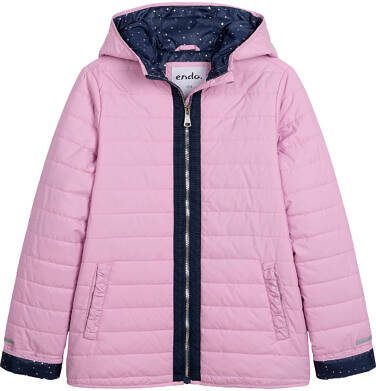 Endo - Przejściowa kurtka z kapturem dla dziewczynki, różowa z elementami odblaskowymi, 9-13 lat D05A002_1 2