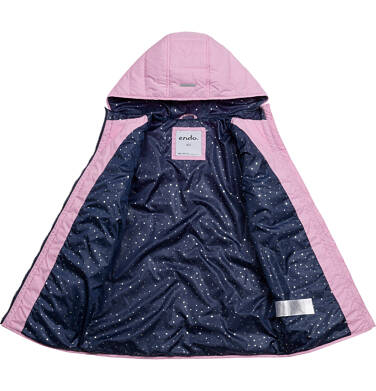 Endo - Przejściowa kurtka z kapturem dla dziewczynki, różowa z elementami odblaskowymi, 9-13 lat D05A002_1 111