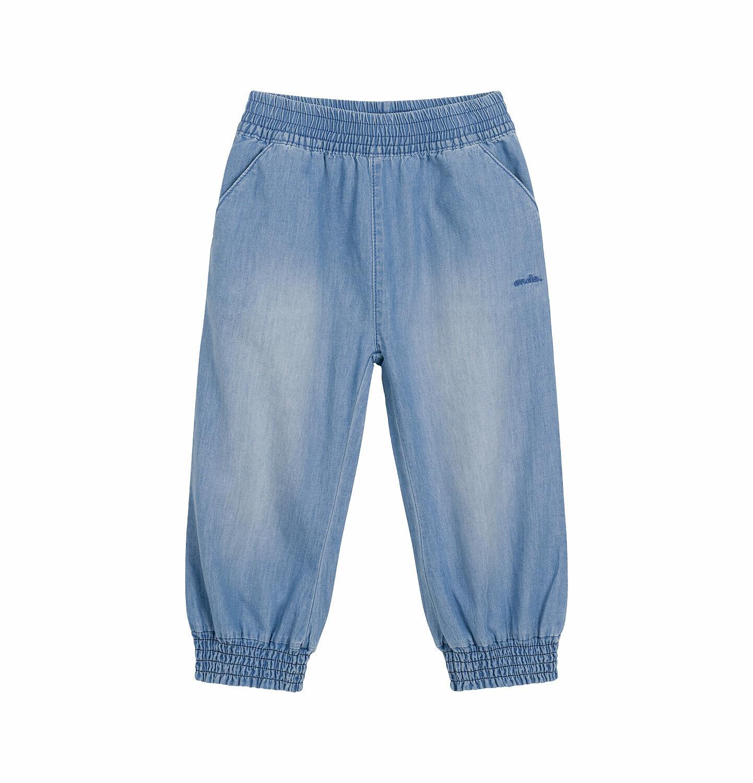 Endo - Spodnie jeansowe dla dziecka do 2 lat, luźny krój i ściągacze na nogawkach N03K041_2