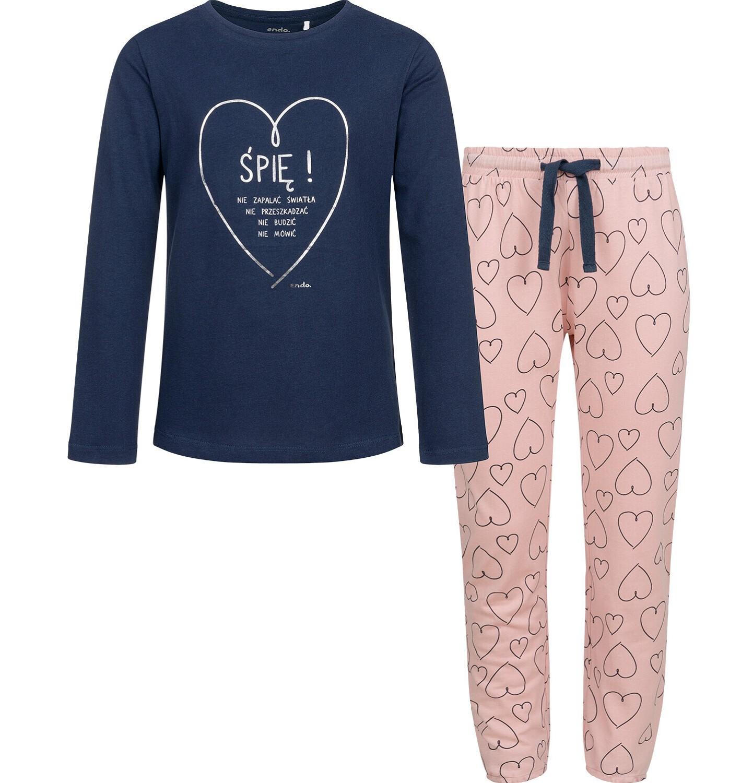 Endo - Piżama dla dziewczynki, deseń w serca, 2-8 lat D04V009_1