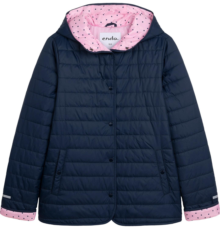 Endo - Przejściowa kurtka z kapturem dla dziewczynki, granatowa z elementami odblaskowymi, 9-13 lat D05A011_1