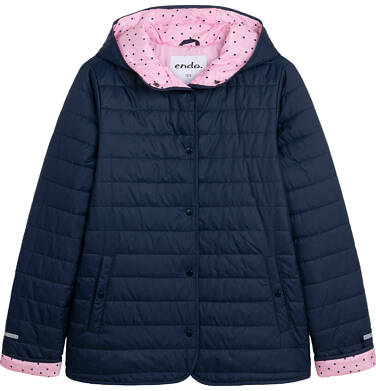 Endo - Przejściowa kurtka z kapturem dla dziewczynki, granatowa z elementami odblaskowymi, 9-13 lat D05A011_1 1