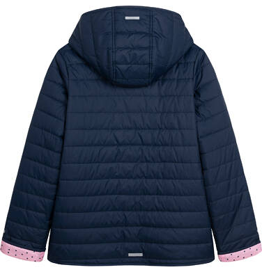Endo - Przejściowa kurtka z kapturem dla dziewczynki, granatowa z elementami odblaskowymi, 9-13 lat D05A011_1,3