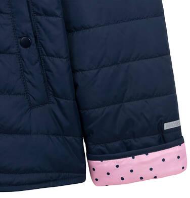 Endo - Przejściowa kurtka z kapturem dla dziewczynki, granatowa z elementami odblaskowymi, 9-13 lat D05A011_1,6