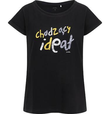 Endo - T-shirt damski z krótkim rękawem, z napisem chodzący ideał, czarny Y06G004_1 8