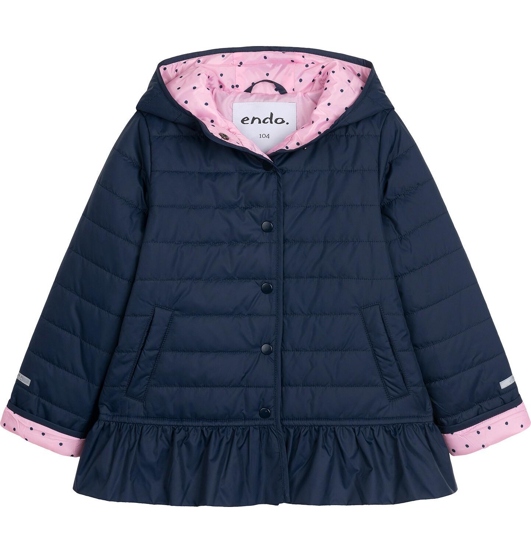 Endo - Przejściowa kurtka z kapturem dla dziewczynki, z falbanką, granatowa z elementami odblaskowymi, 2-8 lat D05A013_1