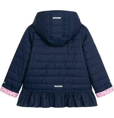 Endo - Przejściowa kurtka z kapturem dla dziewczynki, z falbanką, granatowa z elementami odblaskowymi, 2-8 lat D05A013_1,3
