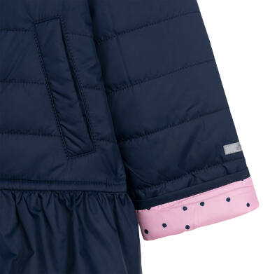 Endo - Przejściowa kurtka z kapturem dla dziewczynki, z falbanką, granatowa z elementami odblaskowymi, 2-8 lat D05A013_1,6