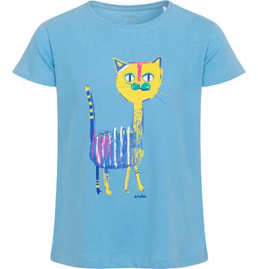 Endo - Bluzka z krótkim rękawem dla dziewczynki, z kolorowym kotem, niebieska 2-8 lat D06G104_1 1
