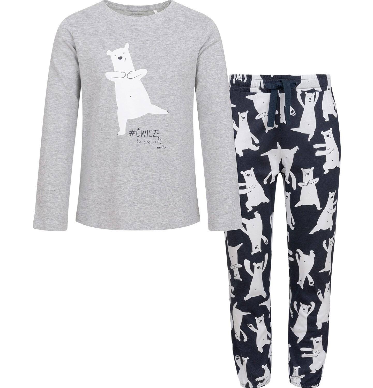 Endo - Piżama dla dziewczynki, w misie, szara, 2-8 lat D04V011_1