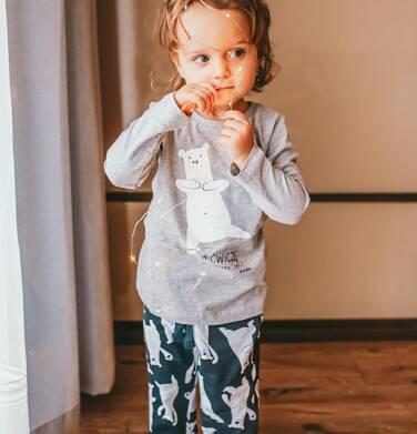 Endo - Piżama dla dziewczynki, w misie, szara, 2-8 lat D04V011_1,2