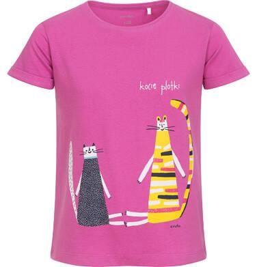 Endo - Bluzka z krótkim rękawem dla dziewczynki, z kotami, różowa, 9-13 lat D06G112_1 30