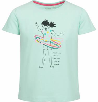 Endo - Bluzka z krótkim rękawem dla dziewczynki, z kolorową postacią, miętowa, 9-13 lat D03G521_1