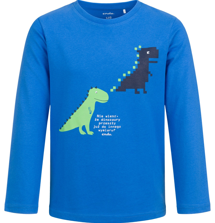 Endo - T-shirt z długim rękawem dla chłopca, z dinozaurami, niebieski, 2-8 lat C04G049_1