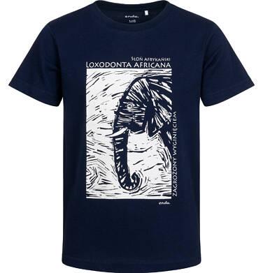 Endo - T-shirt z krótkim rękawem dla chłopca, ze słoniem, granatowy, 2-8 lat C05G186_2 9