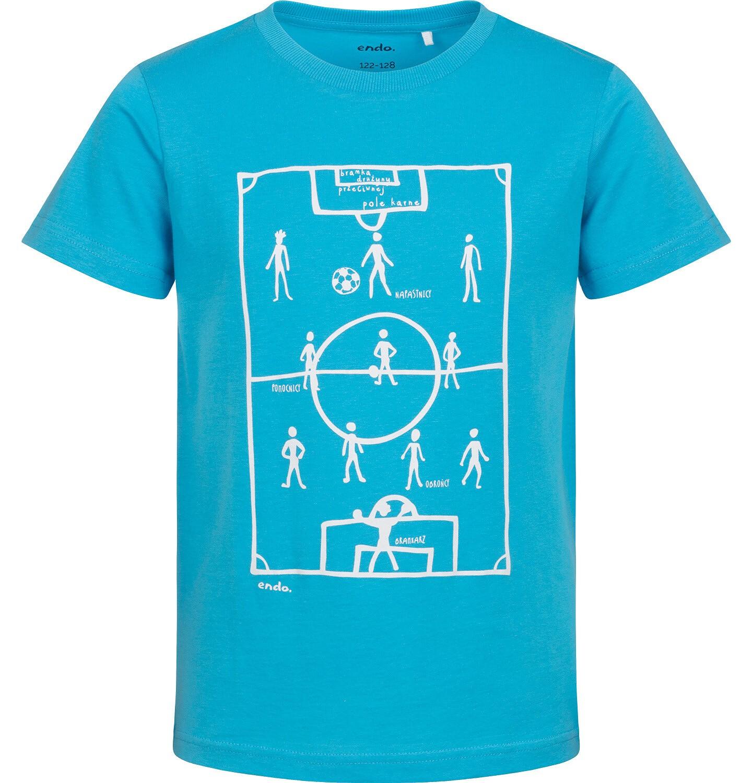 Endo - T-shirt z krótkim rękawem dla chłopca, z boiskiem, niebieski, 2-8 lat C05G041_1