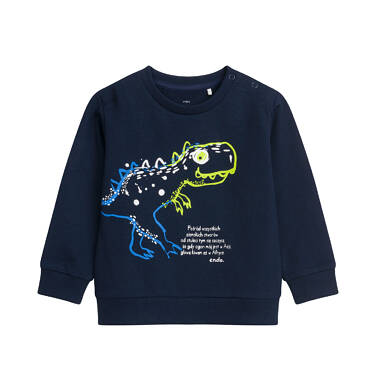 Bluza dla dziecka do 2 lat, z dinozaurem, granatowa N04C005_1