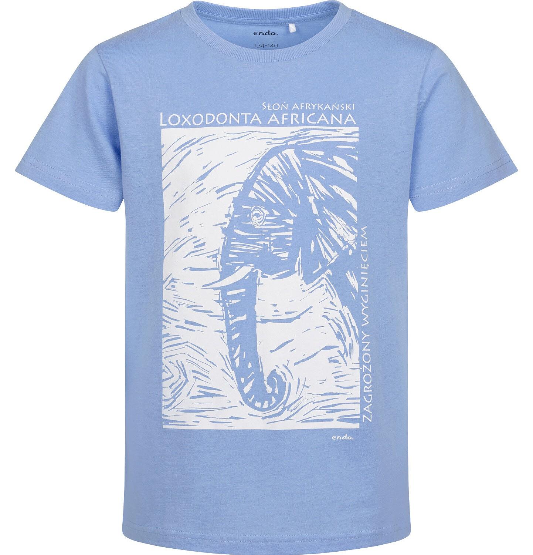 Endo - T-shirt z krótkim rękawem dla chłopca, ze słoniem, niebieski, 9-13 lat C05G045_1