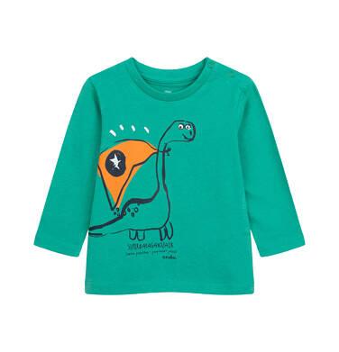T-shirt z długim rękawem dla dziecka do 2 lat, z dinozaurem, zielony N04G006_1