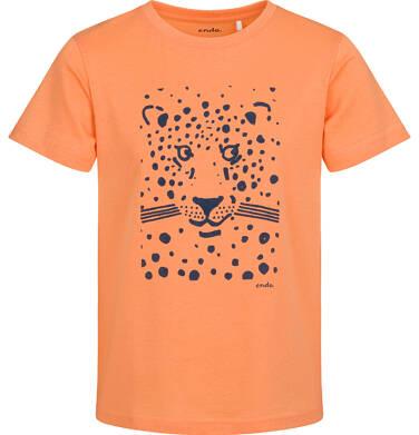 T-shirt z krótkim rękawem dla chłopca, z panterą, pomarańczowy, 2-8 lat C05G076_1