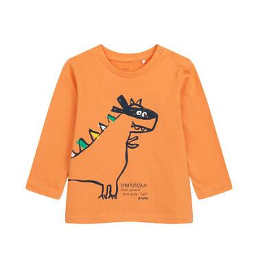 T-shirt z długim rękawem dla dziecka do 2 lat, z dinozaurem, pomarańczowy N04G007_1