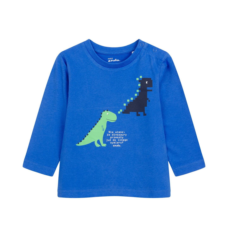 Endo - T-shirt z długim rękawem dla dziecka do 2 lat, w dinozaury, niebieski N04G012_1
