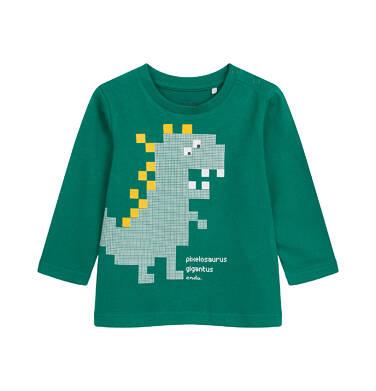 T-shirt z długim rękawem dla dziecka do 2 lat, z dinozaurem, zielony N04G013_1