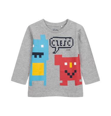 T-shirt z długim rękawem dla dziecka do 2 lat, szary N04G014_1
