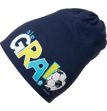 Czapka wiosenna dla dziecka, z motywem piłkarskim, granatowa C05R013_1