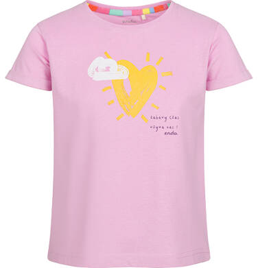 Endo - Bluzka z krótkim rękawem dla dziewczynki, z motywem serca, różowa, 2-8 lat D03G022_1