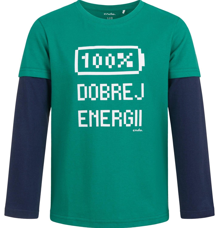 Endo - T-shirt z długim rękawem dla chłopca, 100% dobrej energii, zielony, 2-8 lat C04G050_1