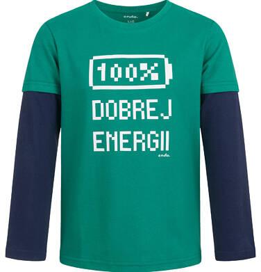 Endo - T-shirt z długim rękawem dla chłopca, 100% dobrej energii, zielony, 2-8 lat C04G050_1,1