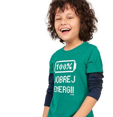 Endo - T-shirt z długim rękawem dla chłopca, 100% dobrej energii, zielony, 2-8 lat C04G050_1,2