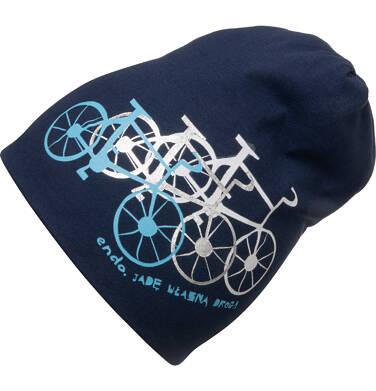 Czapka wiosenna dla dziecka, z rowerami, granatowa C05R020_1