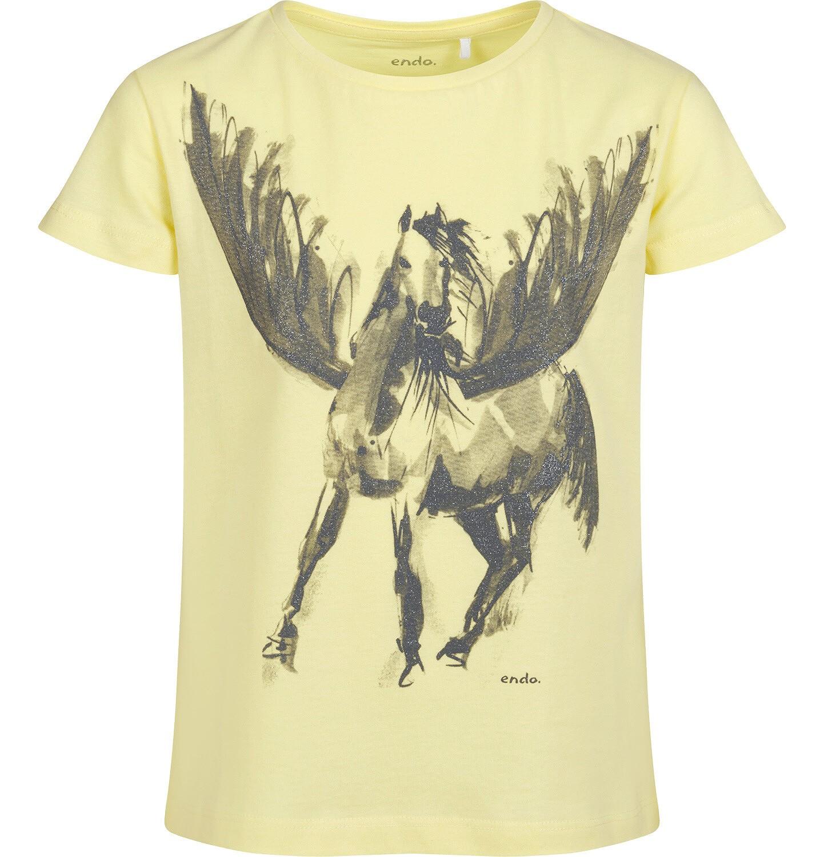 Endo - T-shirt z krótkim rękawem dla dziewczynki, z pegazem, żółty, 9-13 lat D05G004_2