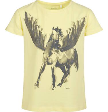 T-shirt z krótkim rękawem dla dziewczynki, z pegazem, żółty, 9-13 lat D05G004_2