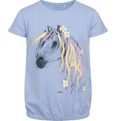 Endo - Bluzka z krótkim rękawem dla dziewczynki, ze ściągaczem, z koniem, niebieska, 9-13 lat D05G005_1,1