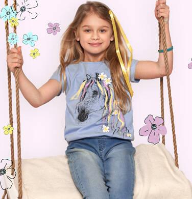 Endo - Bluzka z krótkim rękawem dla dziewczynki, ze ściągaczem, z koniem, niebieska, 9-13 lat D05G005_1,3