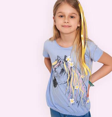 Endo - Bluzka z krótkim rękawem dla dziewczynki, ze ściągaczem, z koniem, niebieska, 9-13 lat D05G005_1,2