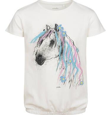 Endo - Bluzka z krótkim rękawem dla dziewczynki, ze ściągaczem, z koniem, biała, 9-13 lat D05G005_2 105